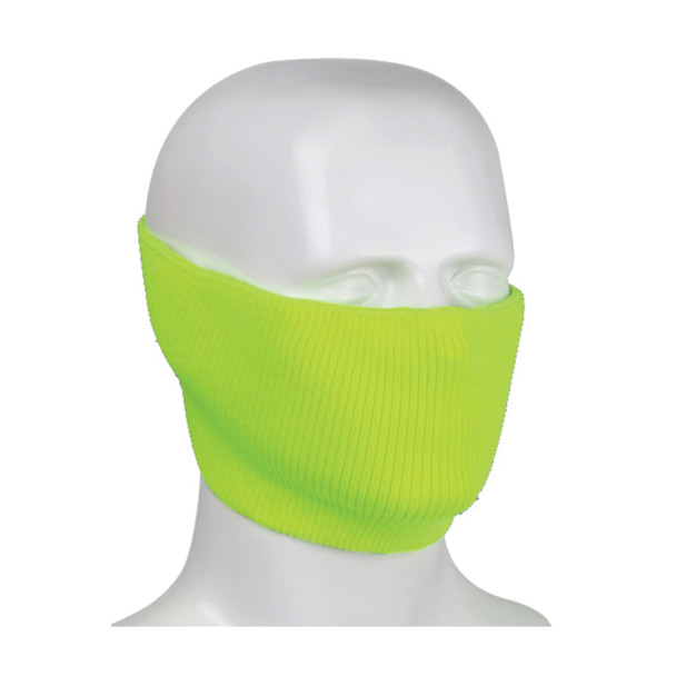 PIP Made in USA Hi Vis Yellow Polyester 2-Ply Ribbed Knit Face Cover 230-FPC-HVC-5