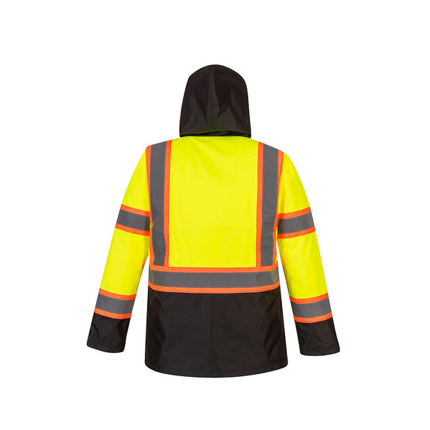 PortWest Class 3 Hi Vis Two-Tone Yellow Black Bottom Traffic Jacket US369 Back