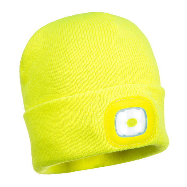 PortWest Junior Hi Vis Yellow LED Head Light Beanie B027