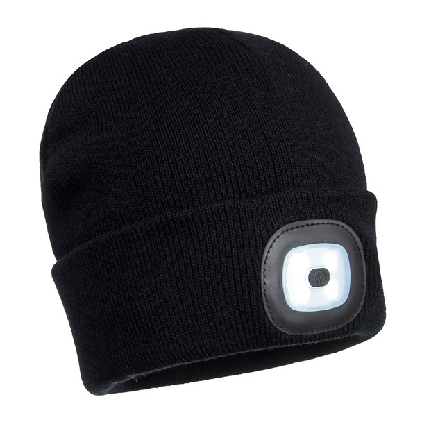 PortWest Rechargeable Twin LED Head Light Beanie B028 Black with White