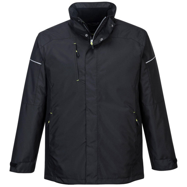 PortWest Black Winter Jacket PW362 Front