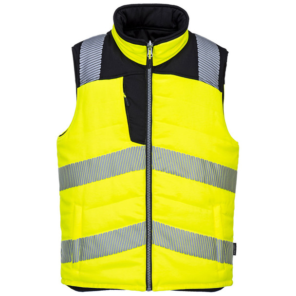 PortWest Class 2 Hi Vis Yellow Reversible Insulated Vest PW374