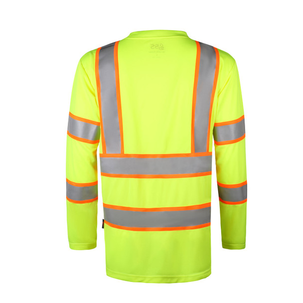 GSS Class 3 Hi Vis Lime Two-Tone Reflective Long Sleeve T-Shirt 5013