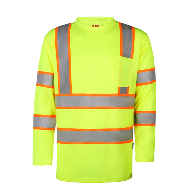 GSS Class 3 Hi Vis Lime Two-Tone Reflective Long Sleeve T-Shirt 5013 Front
