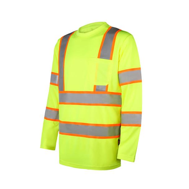 GSS Class 3 Hi Vis Lime Two-Tone Reflective Long Sleeve T-Shirt 5013 Profile