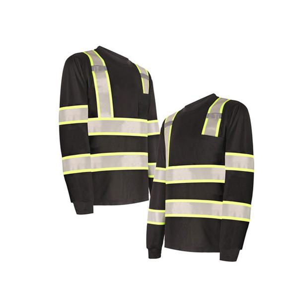 GSS Non-ANSI Enhanced Visibility Black Two-Tone Reflective Long Sleeve T-Shirt 5015 Profile