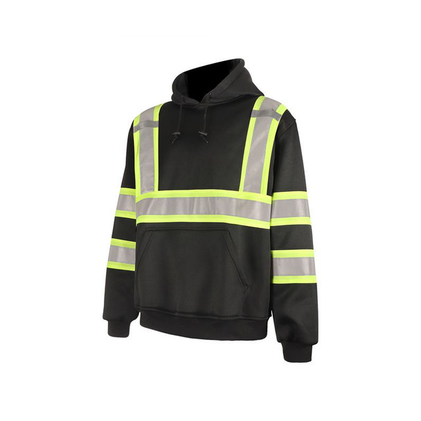 GSS Non-ANSI Enhanced Visibility Black Two-Tone Reflective Pullover Hoodie 7007