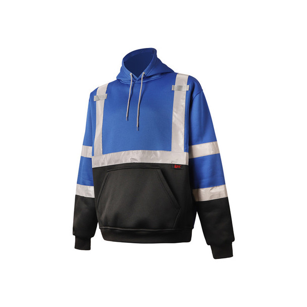 GSS Non-ANSI Enhanced Visibility Blue Reflective Pullover Hoodie 7013 Left Side