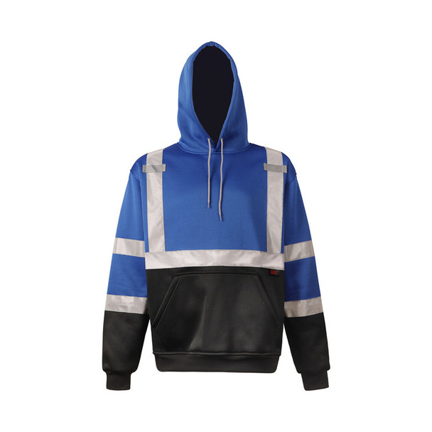GSS Non-ANSI Enhanced Visibility Blue Reflective Pullover Hoodie 7013 Front
