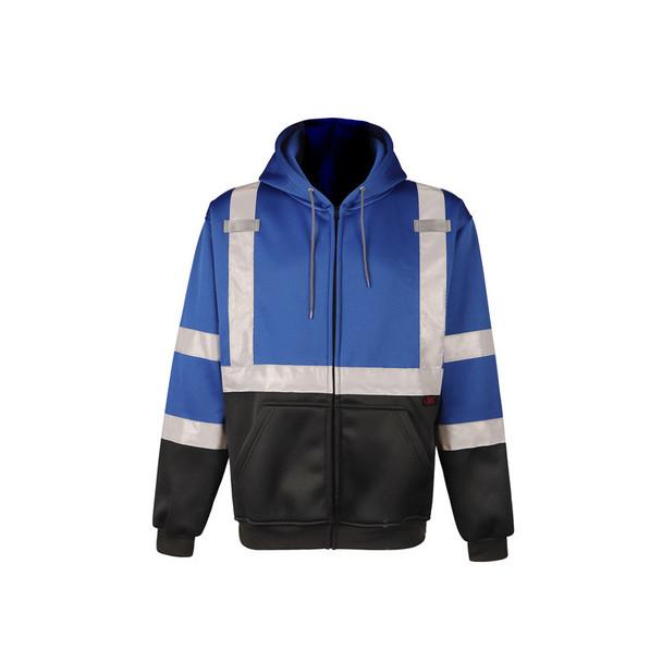 GSS Non-ANSI Enhanced Visibility Blue Black Bottom Full Zip Hoodie 7023 Front