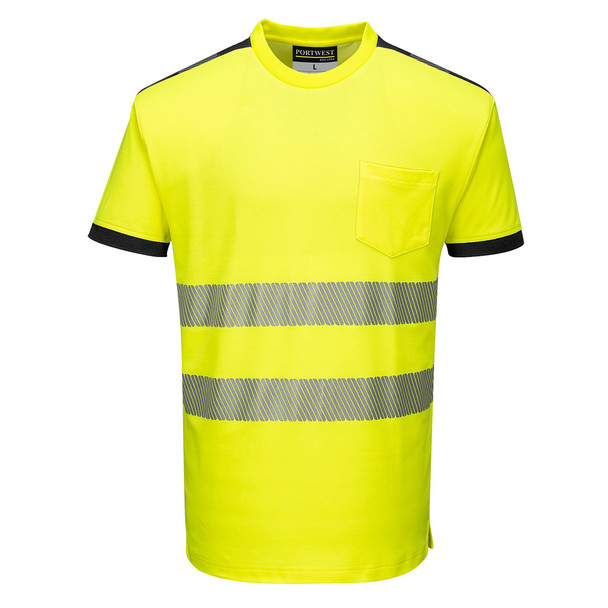 PortWest Class 2 Hi Vis Yellow T-Shirt with Chest Pocket T181 Front