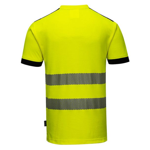 PortWest Class 2 Hi Vis Yellow T-Shirt with Chest Pocket T181 Back