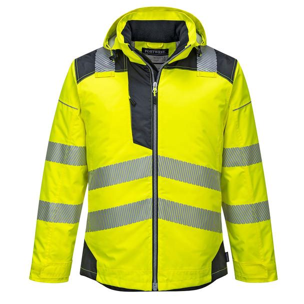PortWest Class 3 Hi Vis Yellow Winter Jacket with Black Trim T400 Front