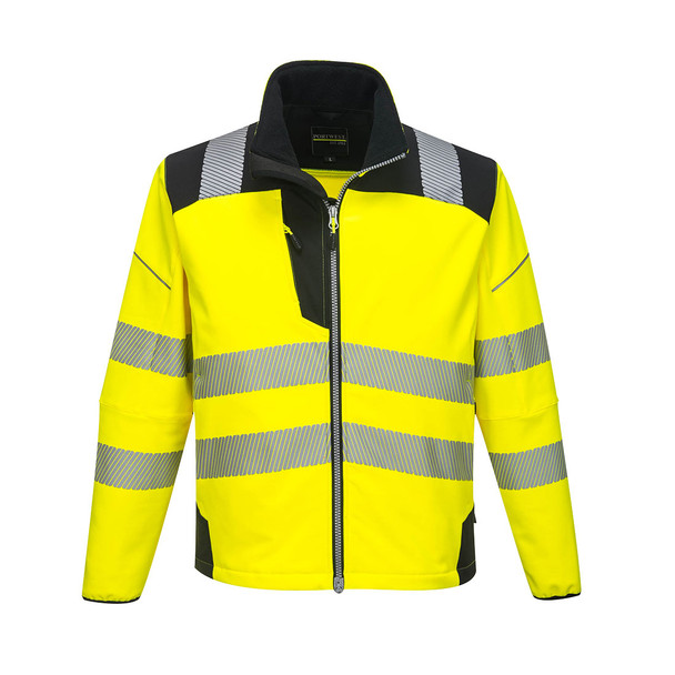 PortWest Class 3 Hi Vis Yellow Softshell Jacket with Black Trim T402 Front