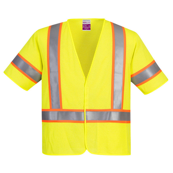 PortWest FR Class 3 Hi Vis Yellow Mesh Safety Vest UFR24 Front