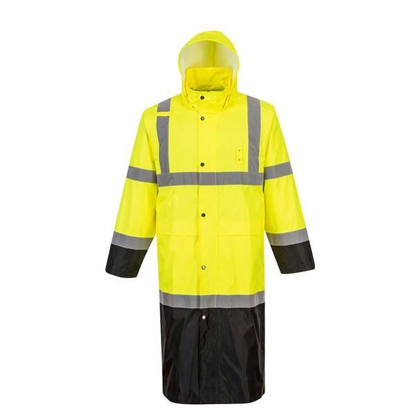PortWest Class 3 Hi Vis Yellow Black Bottom Rain Coat UH446 Front