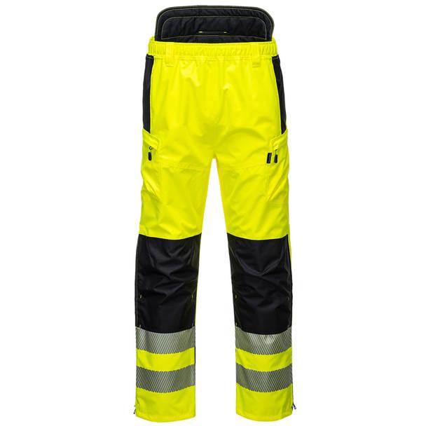 PortWest Class E Hi Vis Yellow Extreme Rain Pants PW342 Front