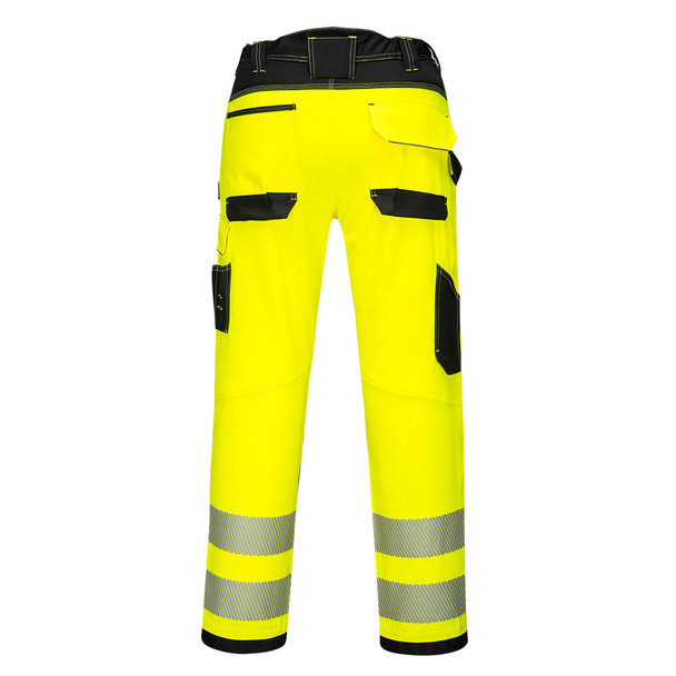 PortWest Class E Hi Vis Yellow Black Bottom Work Pants PW340 Back