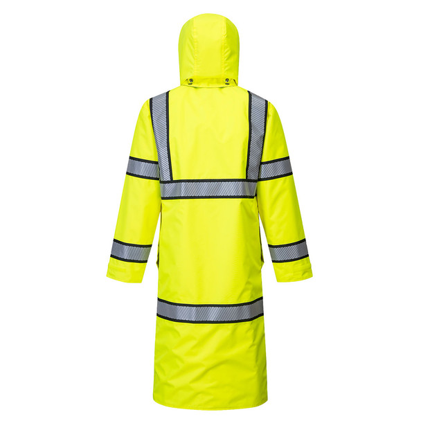 PortWest Class 3 Hi Vis Yellow Reversible Rain Coat with Black Trim UH447 Back