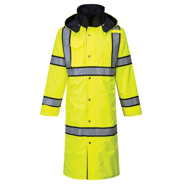 PortWest Class 3 Hi Vis Yellow Reversible Rain Coat with Black Trim UH447 Front