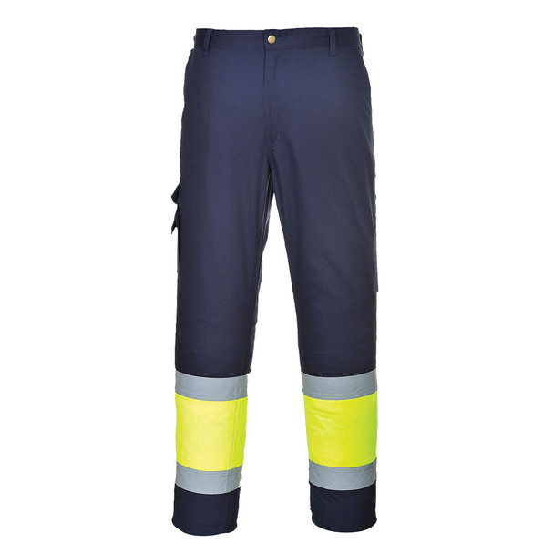 PortWest Non-ANSI Hi Vis Navy Pants with Yellow Two-Tone E049