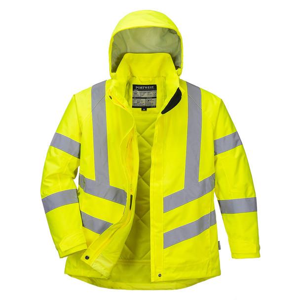 PortWest Class 3 Hi Vis Yellow Ladies Winter Jacket LW74 Front