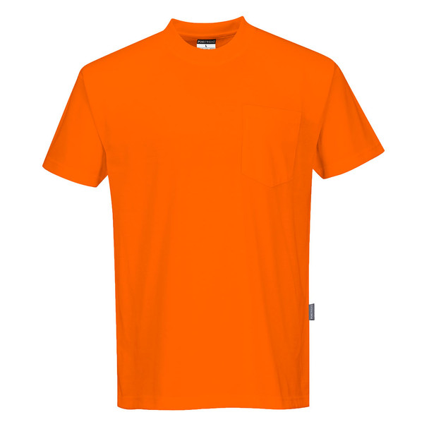 PortWest Non-ANSI Hi Vis T-Shirt with Chest Pocket S577 Orange Front