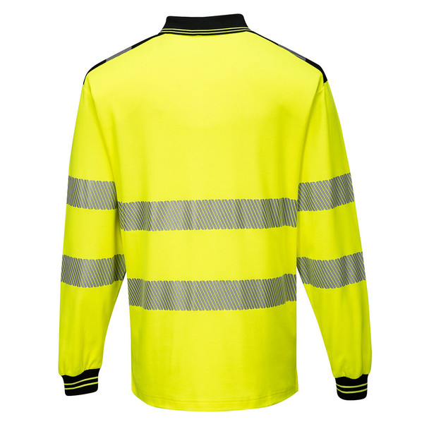 PortWest Class 3 Hi Vis Yellow Long Sleeve Polo with Chest Pocket T184 Back