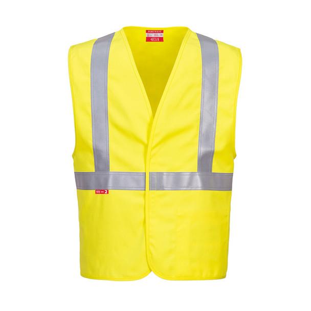 PortWest FR Class 2 Hi Vis Yellow Woven Vest UFR23 Front