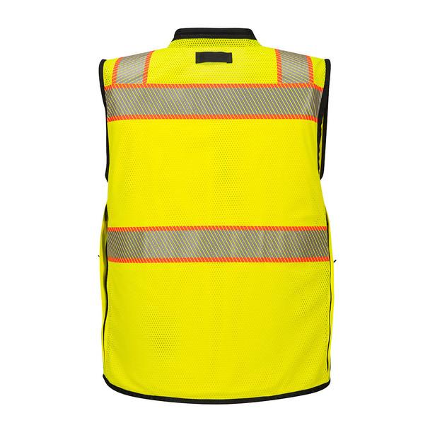 PortWest Class 2 Hi Vis Yellow Black Bottom Surveyor Vest US375 Back
