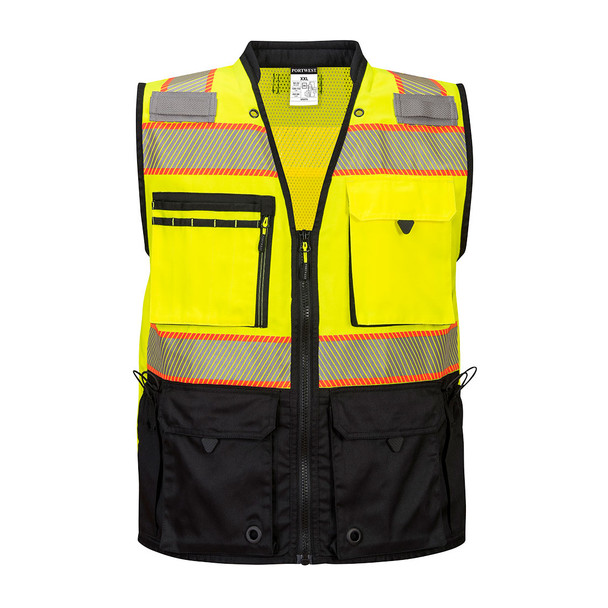 PortWest Class 2 Hi Vis Yellow Black Bottom Surveyor Vest US375 Front