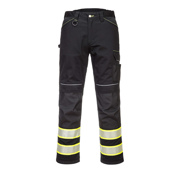 PortWest Enhanced Visibility Black Iona Work Pants F142 Front