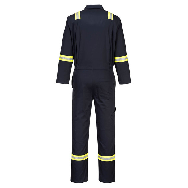 PortWest Enhanced Visibility Navy Iona Cotton Unlined Coverall F129 Back