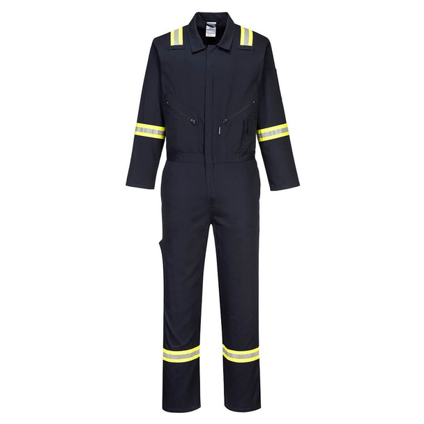 PortWest Enhanced Visibility Navy Iona Cotton Unlined Coverall F129 Front