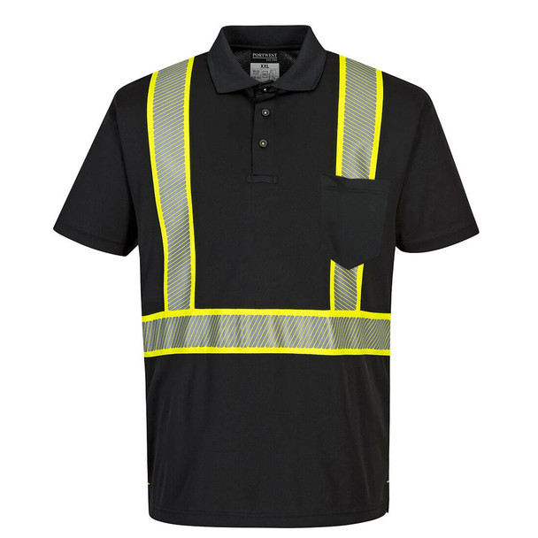 PortWest Enhanced Visibility Black Iona Polo Shirt F140 Front