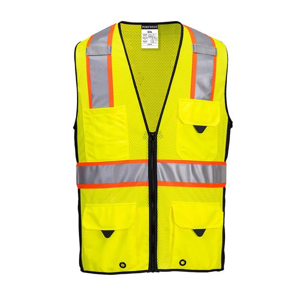 PortWest Class 2 Hi Vis Yellow Black Trim Mesh Surveyor Vest US377 Front