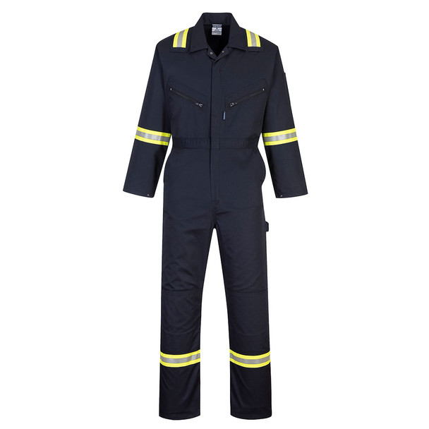 PortWest Enhanced Visibility Navy Iona Unlined Coverall F128 Front