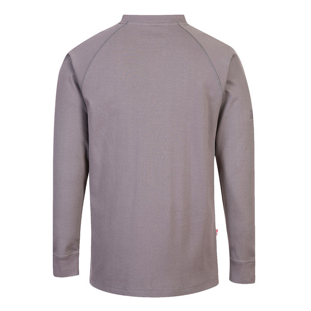 PortWest FR Anti-Static Crew Neck Sweatshirt FR33 Grey Back