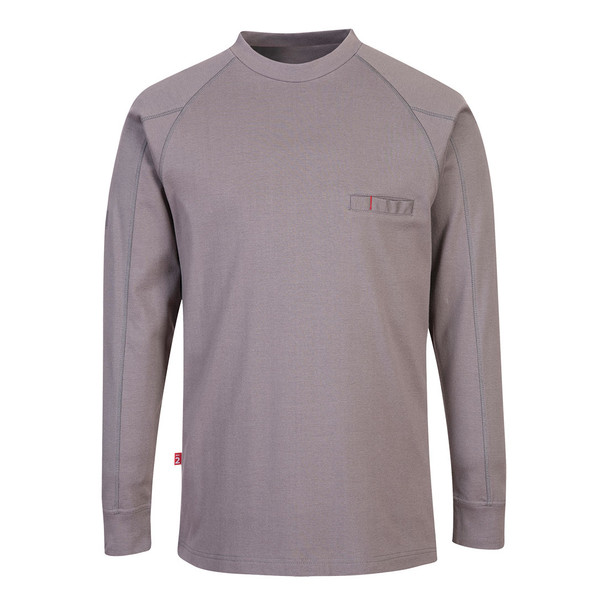 PortWest FR Anti-Static Crew Neck Sweatshirt FR33 Grey Front