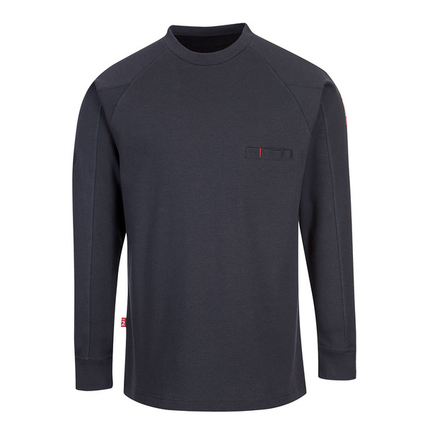 PortWest FR Anti-Static Crew Neck Sweatshirt FR33 Navy Front