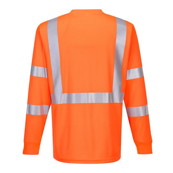 PortWest Class 3 Hi Vis Long Sleeve T-Shirt with Pocket S192 Orange Back