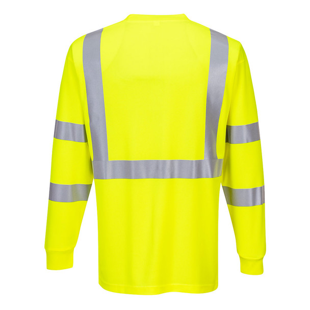 PortWest Class 3 Hi Vis Long Sleeve T-Shirt with Pocket S192 Yellow Back