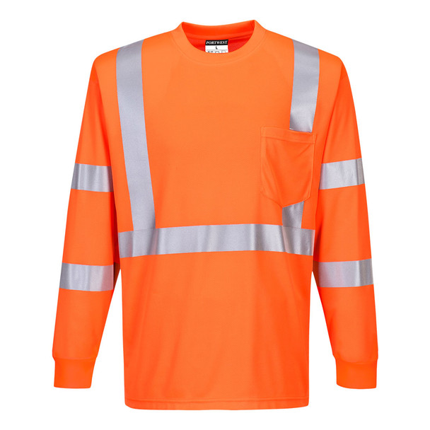 PortWest Class 3 Hi Vis Long Sleeve T-Shirt with Pocket S192 Orange Front