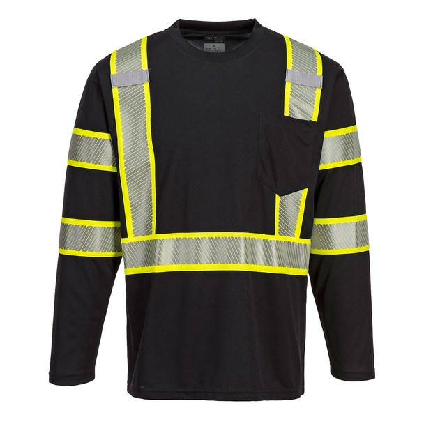 PortWest Enhanced Visibility Black Iona Long Sleeve T-Shirt with Pocket S346 Front