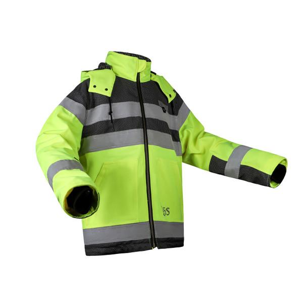 GSS Class 3 Hi Vis Lime Black Bottom ONYX QUARTZ Teflon Shield Safety Jacket 8515 Right Side