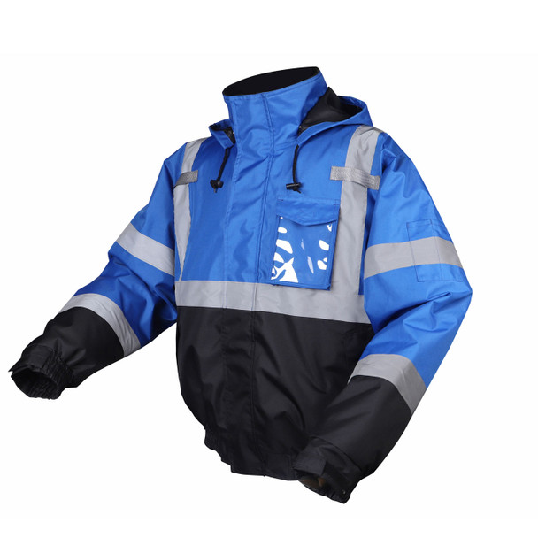 GSS Non-ANSI Enhanced Visibility Blue Black Bottom Bomber Jacket 8013 Left Side