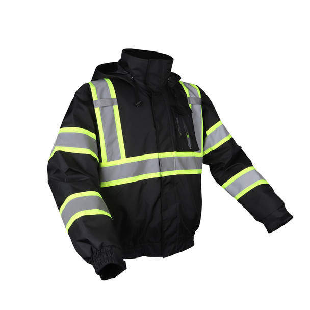 GSS Non-ANSI Enhanced Visibility Black Two-Tone Reflective Bomber Jacket 8011 Right Side