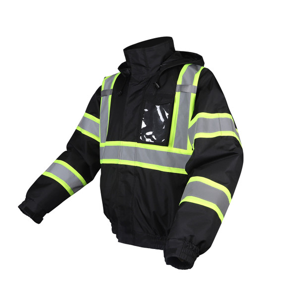 GSS Non-ANSI Enhanced Visibility Black Two-Tone Reflective Bomber Jacket 8011 Left Side