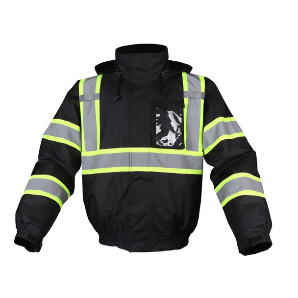 GSS Non-ANSI Enhanced Visibility Black Two-Tone Reflective Bomber Jacket 8011 Front