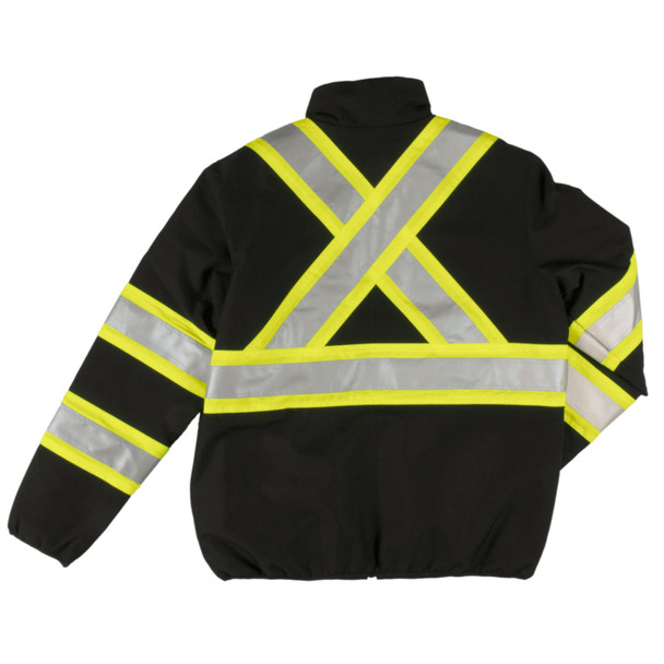 Tough Duck Class 1 Enhanced Visibility Two-Tone X-Back Black Reversible Safety Jacket SJ27BLK Back